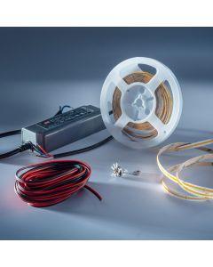 Starter-Kit Banda LED LumiFlex COB cu lumină continuă alb cald CRI90 2700K 5690lm 24V rola 5m cu driver și dimmer