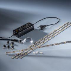 Plug&Play Starter-Kit 4 x Banda LED Multibar 44 Nichia alb cald CRI90 3000K 732lm 24V 44 LED-uri 50cm cu driver și cabluri