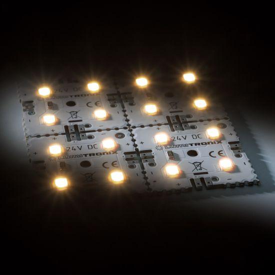 Matrice Profesionala LED Matrix mini 24V 4 patrate (2x2) 16 LED-uri Nichia Japonia (274lm) 2700K alb cald