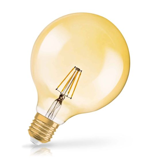 Bec LED Osram LED VINTAGE 1906 DIM GLOBE125 51 7W 824 E27 GOLD 2400K 650lm