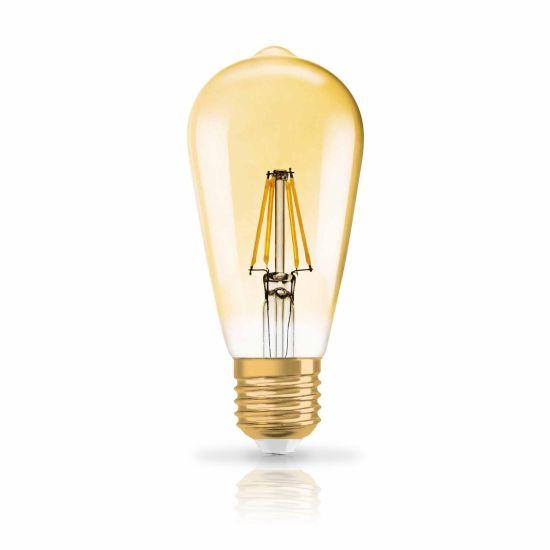 Bec LED Osram LED VINTAGE 1906 EDISON GOLD 21 28W 824 E27 2400K 200lm