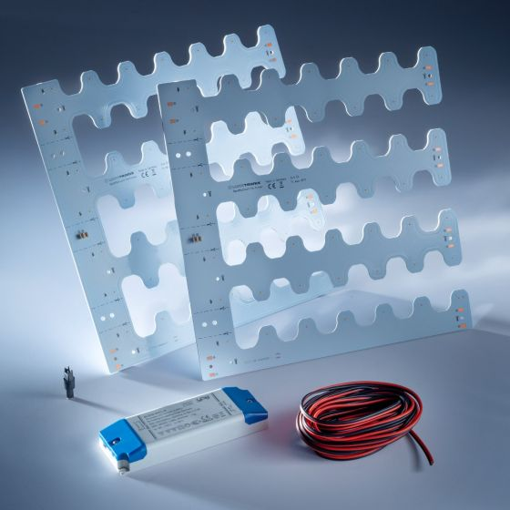 Plug&Play Starter-Kit 2x Nichia BackMatrix 49 28x28cm 24V 180 deg Alb 2700K total 2300lm și 22W cu driver și cabluri