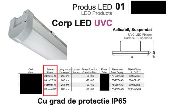 """Lampa promovata cu scopul """"dezinfectiei"""" fara a specifica puterea radianta efectiva (<2W?)"""