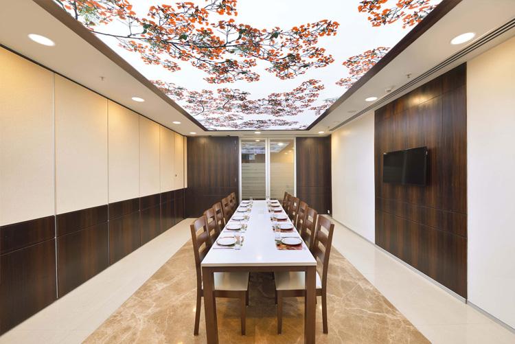 Un tavan întins pentru lumina ambientală este completat de alte surse de lumină, cum ar fi lumina de jos.