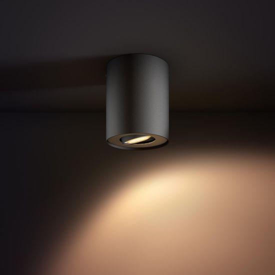 Lampa LED de tavan PHILIPS Wifi Pillar LED 1 Spot Negru 2200-6500K 5.5W 350lm