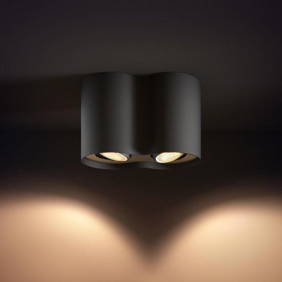 Lampa LED de tavan PHILIPS Wifi Pillar LED 2 Spot Negru 2200-6500K 11W 700lm