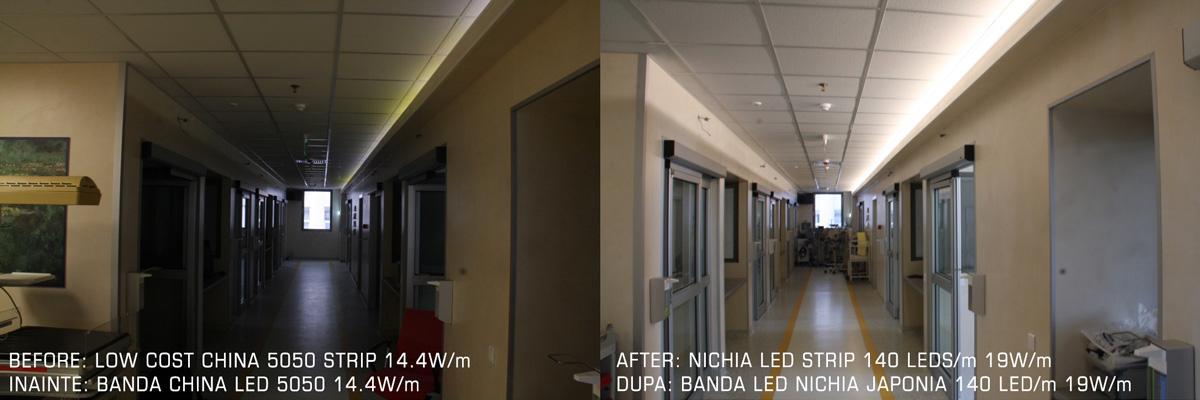 Diferenta de sortare intre LED-uri pe banda LED: stanga (fara sortare), dreapta (sortare 3-step)