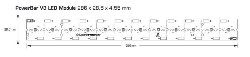 Banda LED PowerBar UVA, 16W putere radianta UVA, 31W consum energie, 12 LED-uri Nichia UV