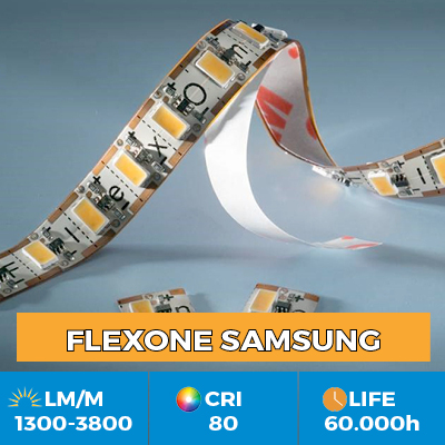 Benzi Flexibile Profesionale FlexOne LED Samsung, se pot taia la fiecare LED, flux luminos de pana la 3800 lm/m
